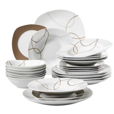 Nikita 24-Piece Casual Ivory White with Brown Lines Pattern Porcelain Dinnerware Set (Service for 6)