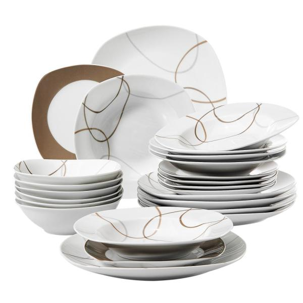 Veweet Nikita 24 Piece Casual Ivory White With Brown Lines Pattern Porcelain Dinnerware Set Service For 6 Nikita02 The Home Depot