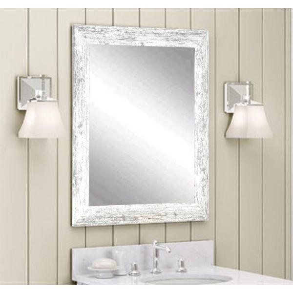 BrandtWorks Distressed White Barnwood Wall Mirror BM032M