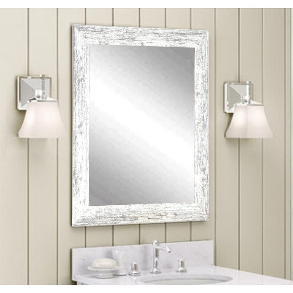 white wood framed bathroom mirrors distressed white barnwood wall mirror bm032m3 the home depot 24702