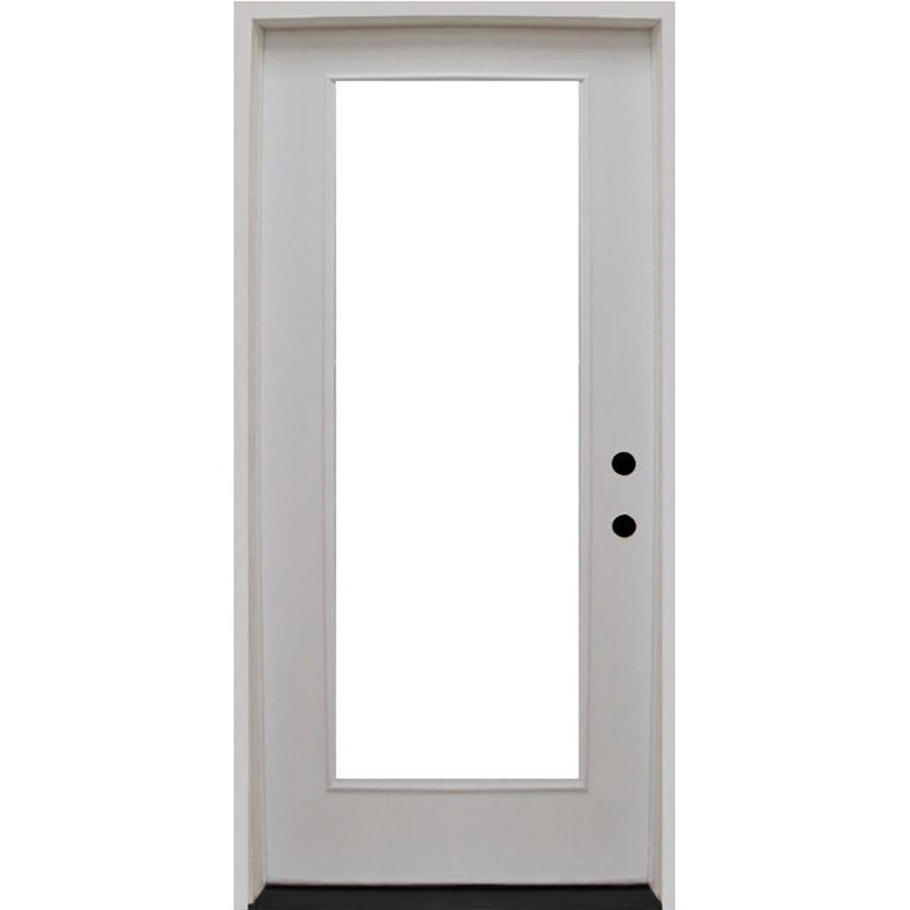 Steves & Sons 36 in. x 80 in. Premium Full Lite Primed White Fiberglass Prehung Front Door