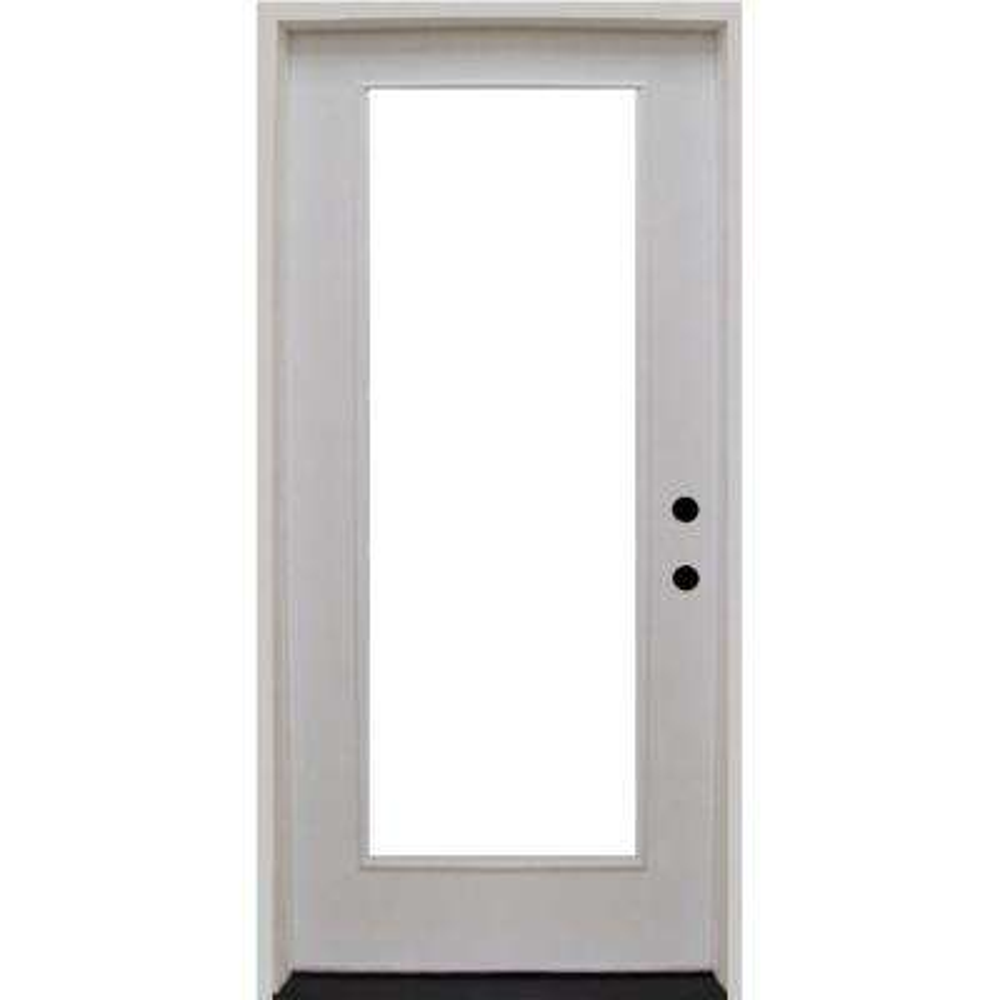 36 in. x 80 in. Premium Full Lite Primed White Fiberglass Prehung Front Door
