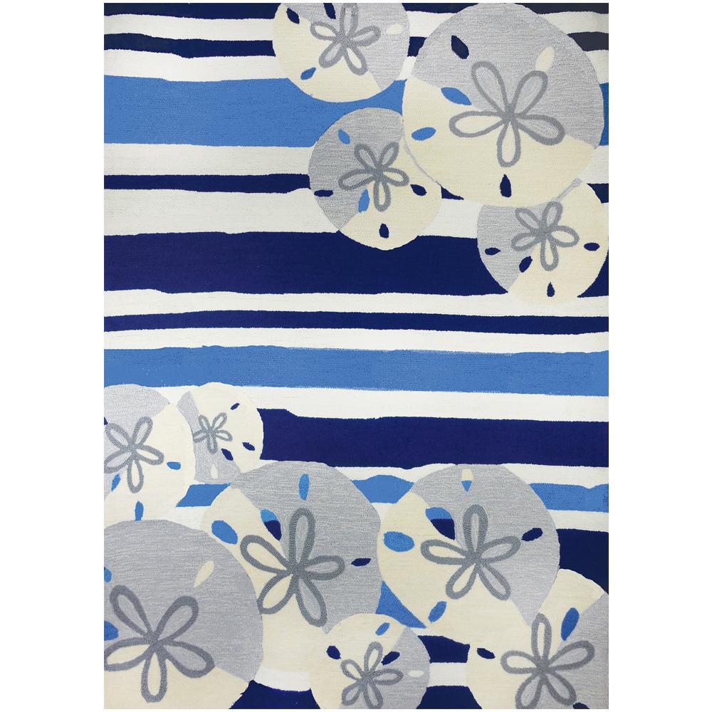 Sand Dollars On Blue Stripes 8 Ft X 10 Indoor Outdoor