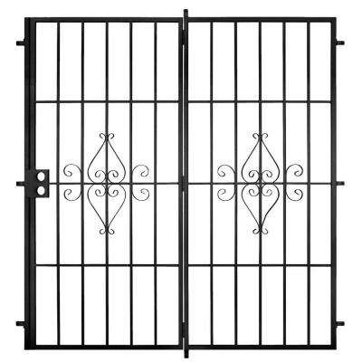 Su Casa 60 in. x 80 in. Black Projection Mount Outswing Steel Patio Security Door with No Screen