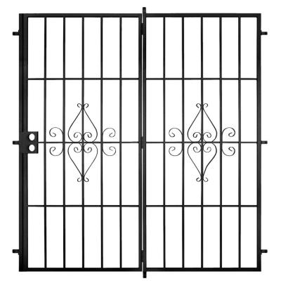 Su Casa 72 in. x 80 in. Black Projection Mount Outswing Steel Patio Security Door with No Screen