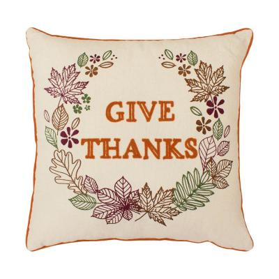 Give Thanks Embroidered Thanksgiving Polyester Standard Throw Pillow