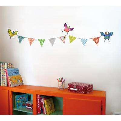 """(47 in x 11 in) Multi-Color """"Pennant Garland"""" Kids Wall Decal"""