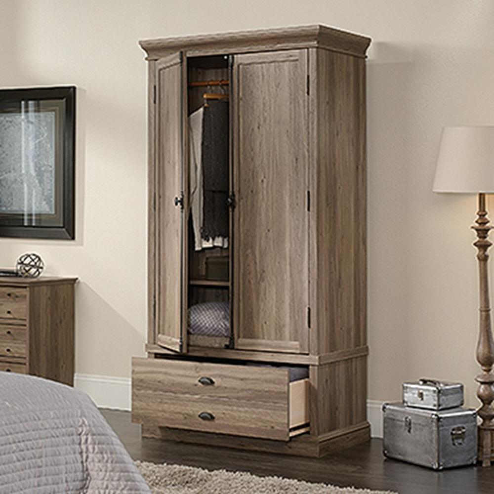 Captivating Barrister Salt Oak Armoire