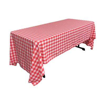 60 in. x 120 in. White and Coral Polyester Gingham Checkered Rectangular Tablecloth