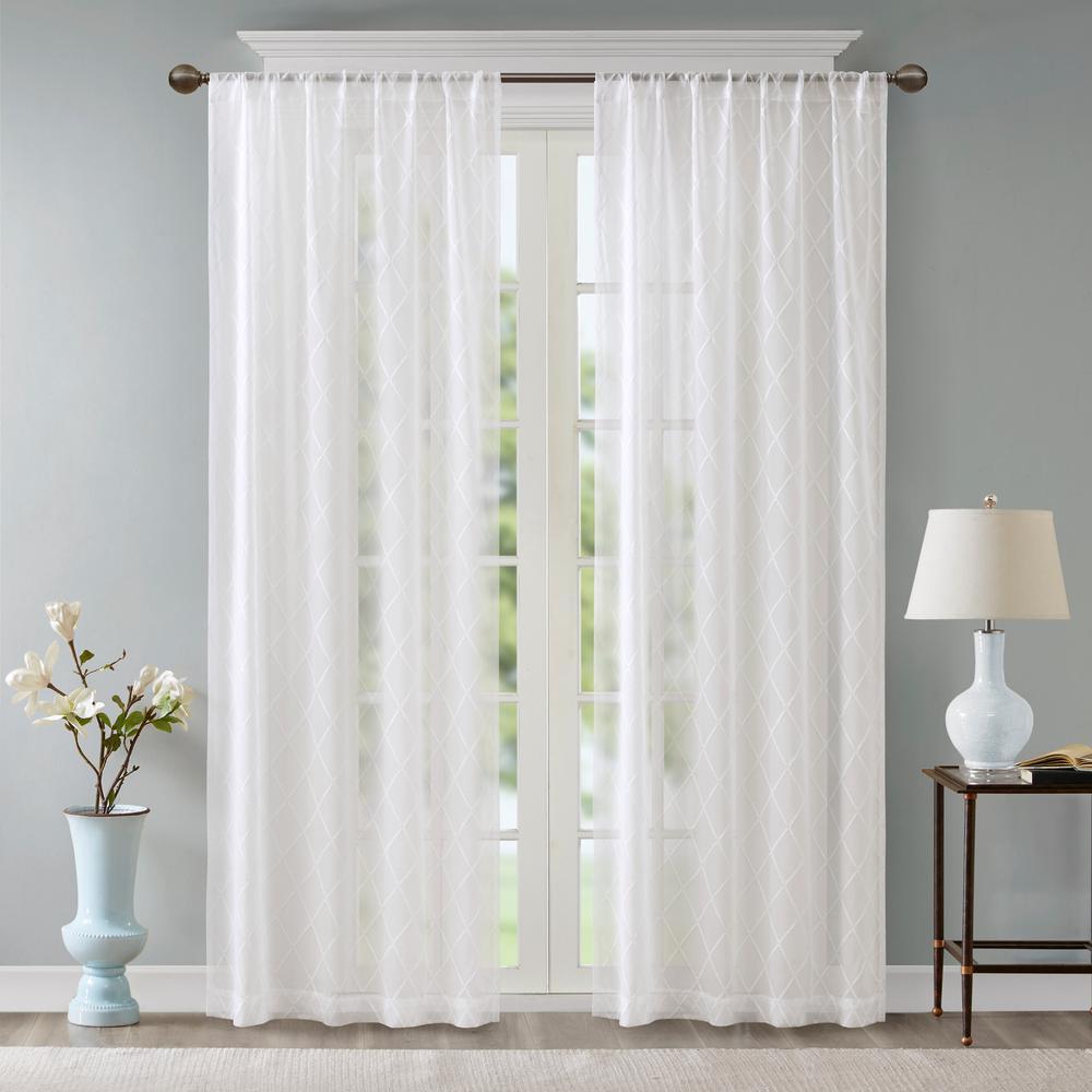 Iris White 50 in. x 84 in. Diamond Sheer Window Curtain