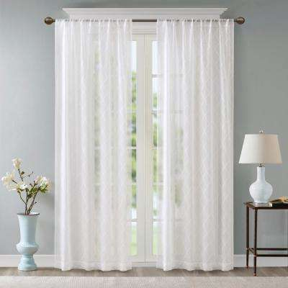 Iris White 50 in. x 95 in. Diamond Sheer Window Curtain