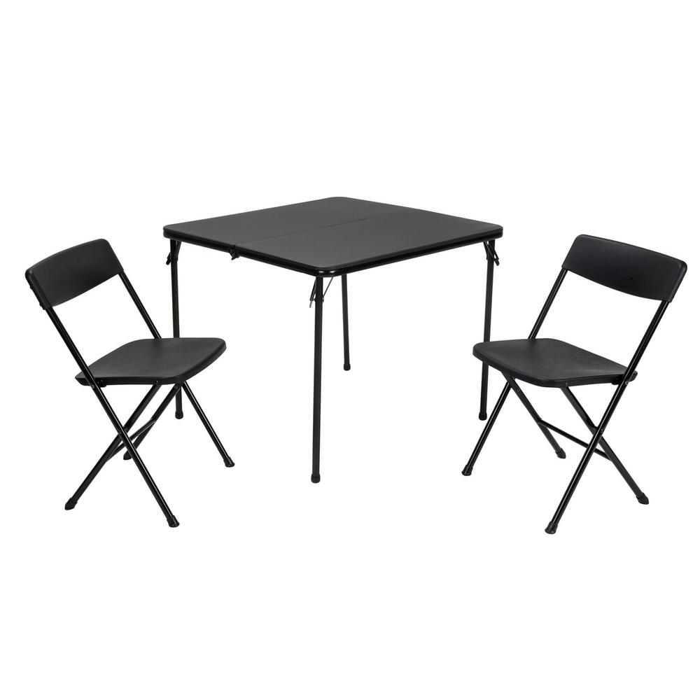 Super Cosco 3 Piece Black Fold In Half Folding Table Set Andrewgaddart Wooden Chair Designs For Living Room Andrewgaddartcom