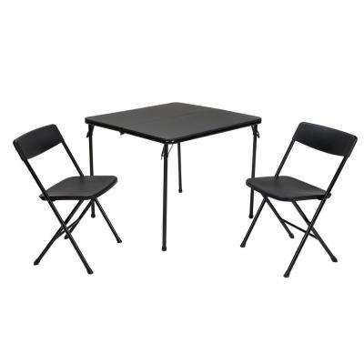3-Piece Black Folding Table and Chair Set