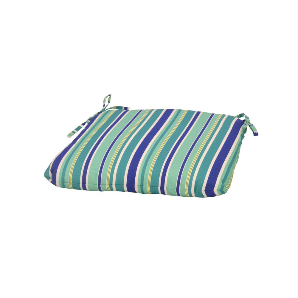 Hampton Bay Seaglass Stripe Trapezoid Outdoor Seat Cushion