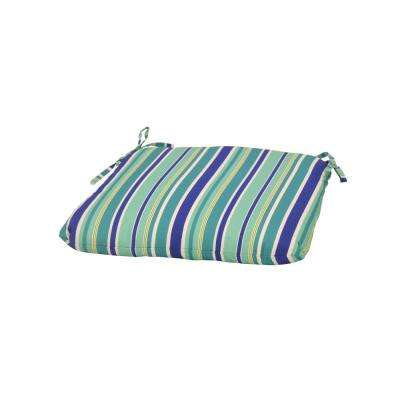 Seaglass Stripe Trapezoid Outdoor Seat Cushion
