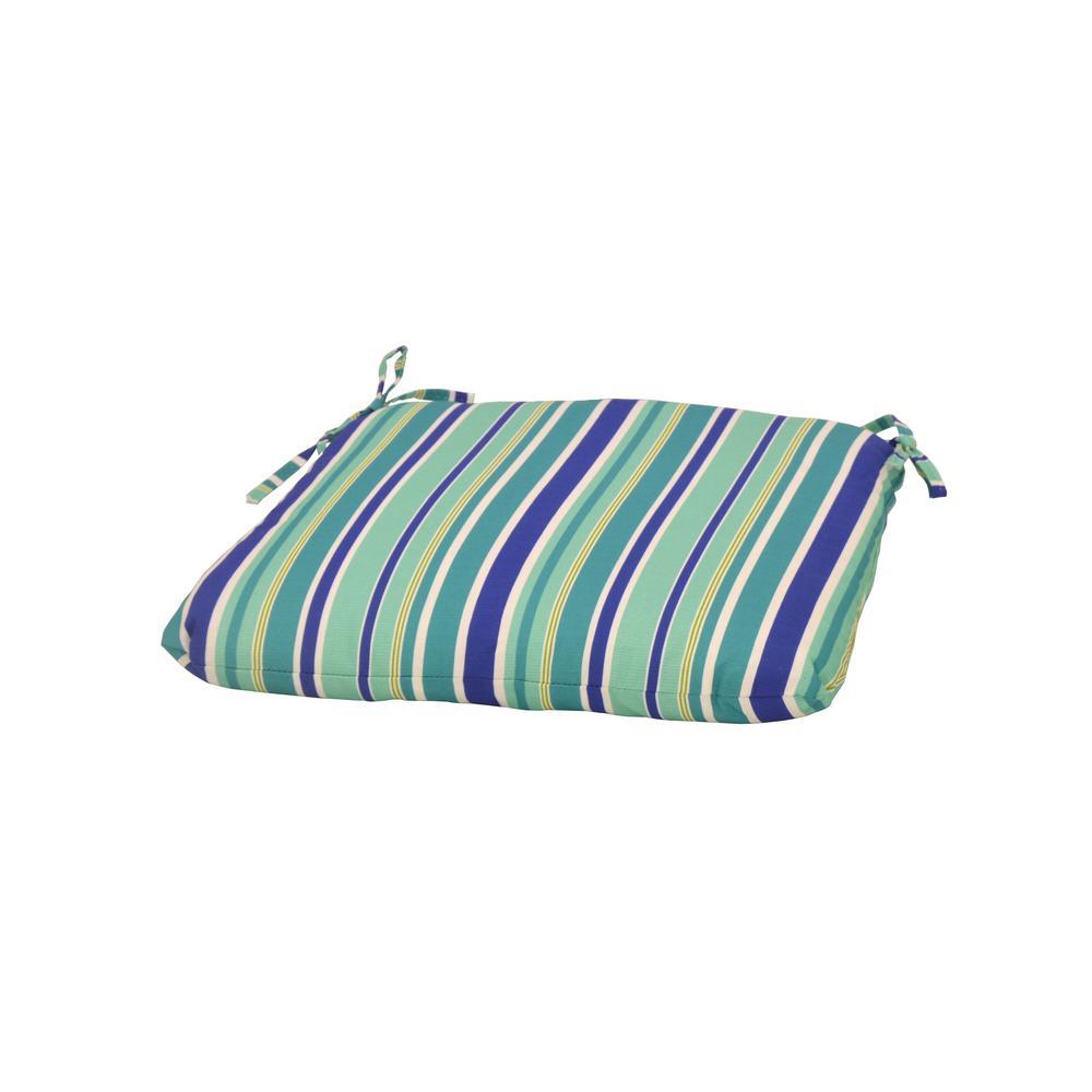 Seaglass Stripe Trapezoid Outdoor Seat Cushion