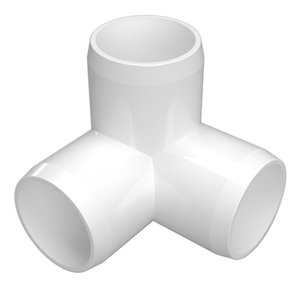 formufit 3 4 in furniture grade pvc 3 way elbow in white 8 pack