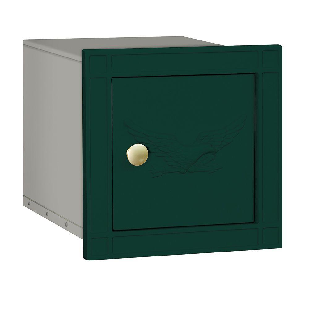 4100 Series 11.5 in. W x 11.5 in. H x 15.75 in. D Green Non-Locking Eagle Door Cast Aluminum Column Mailbox