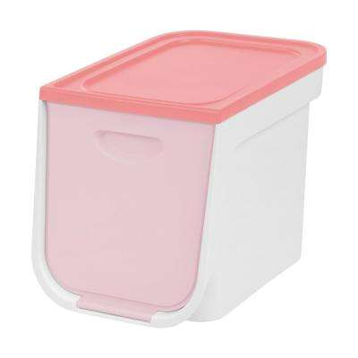 22 Qt. Small Flap Storage Box in White and Pink