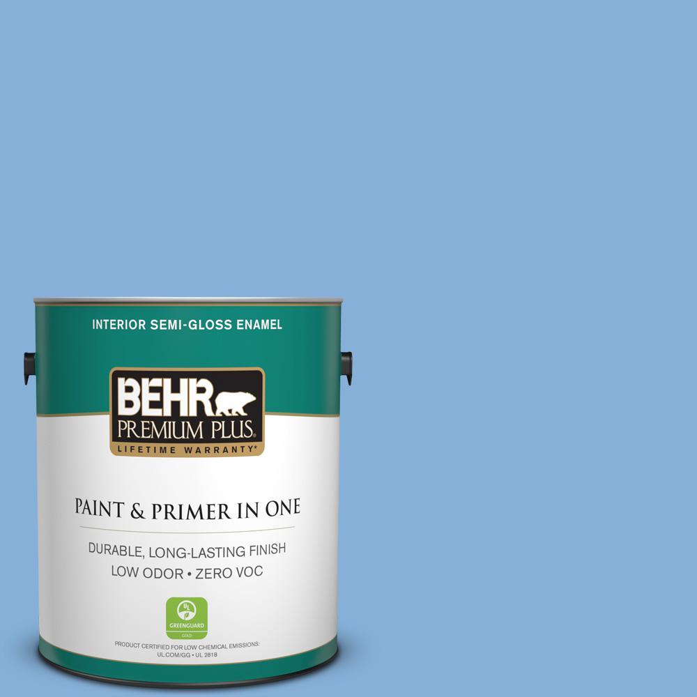 1 gal. #PPU15-12 Bluebird Zero VOC Semi-Gloss Enamel Interior Paint