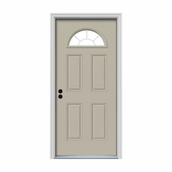 36 in. x 80 in. Fan Lite Desert Sand Painted Steel Prehung Right-Hand Inswing Front Door w/Brickmould