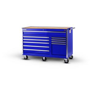 International Tech Series 56 inch 10-Drawer Roller Cabinet Tool Chest with Wood Top Blue by International