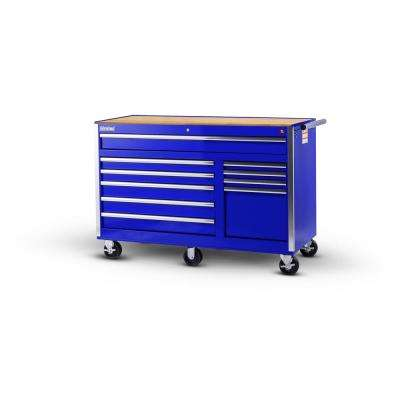 Tech Series 56 in. 10-Drawer Roller Cabinet Tool Chest with Wood Top Blue