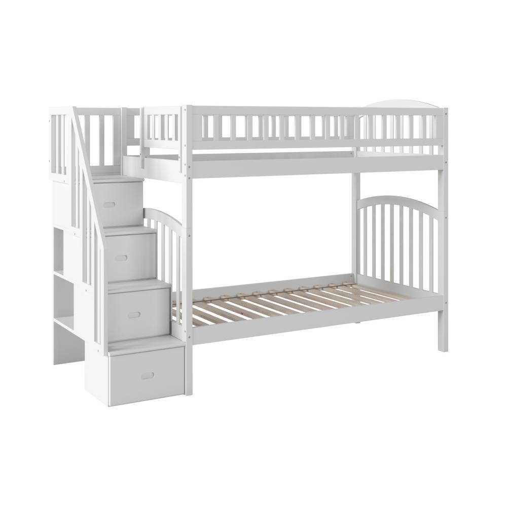 White Bunk Loft Beds Kids Bedroom Furniture The Home Depot