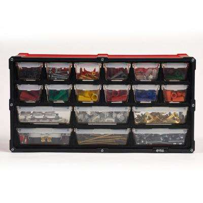 18-Compartment Small Parts Organizer, Red