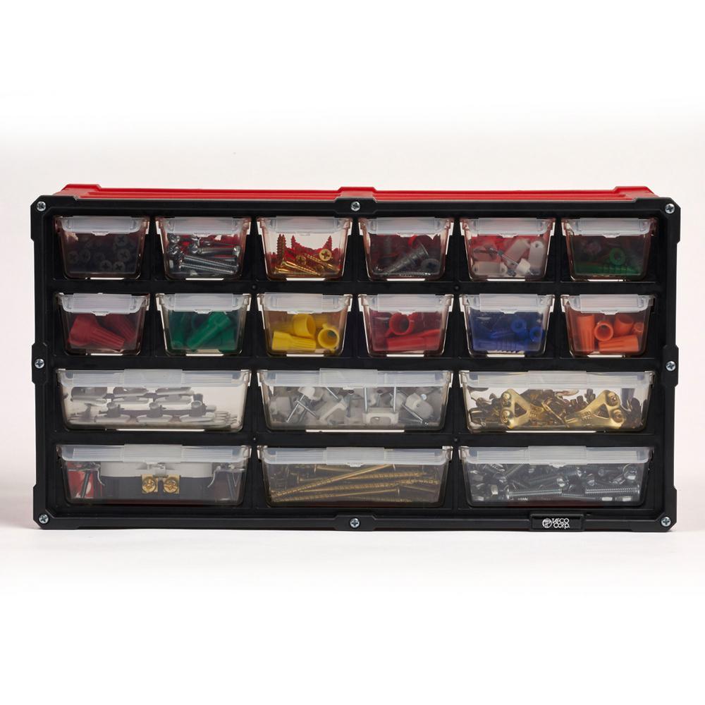 18-Compartment Small Parts Organizer, Red