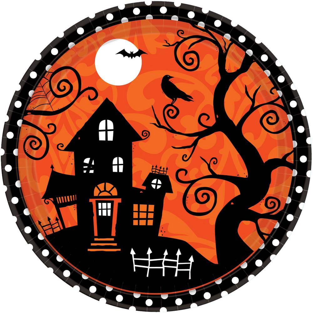 10.5 in. x 10.5 in. Halloween Frightfully Fancy Plate (18-Count, 3-Pack)