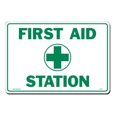 14 in. x 10 in. First Aid Station Sign Printed on More Durable, Thicker, Longer Lasting Styrene Plastic