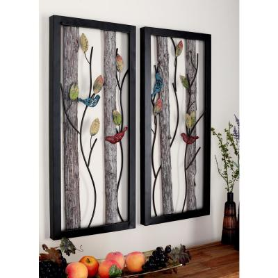 Natural Tin and Wood Multi-Colored Birds on Vines Wall Plaques (Set of 2)