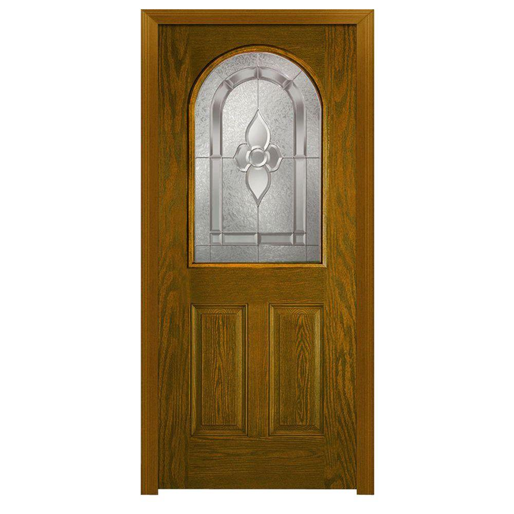 Milliken Millwork 36 in. x 80 in. Master Nouveau Decorative Glass 1/2 Lite 2-Panel Finished Oak Fiberglass Prehung Front Door
