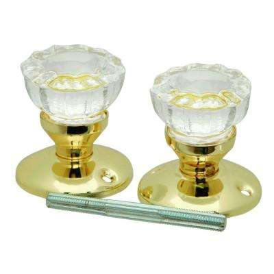 Polished Brass Glass Knob Set with Rosettes and Spindle