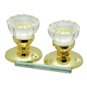 first watch security polished brass glass knob set with rosettes and spindle 1143 the home depot. Black Bedroom Furniture Sets. Home Design Ideas