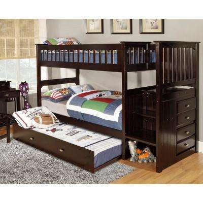 Espresso Twin over Twin Solid Pine Staircase Bunkbed with 4-Drawer Chest and Twin Trundle