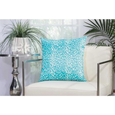 Leopard Turquoise Polyester Standard Throw Pillow