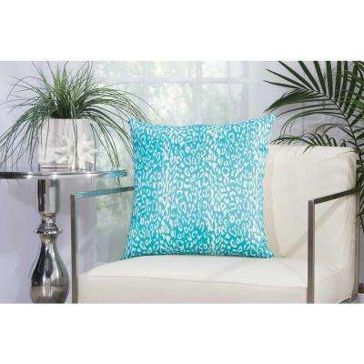 Leopard 20 in. Turquoise Indoor and Outdoor Pillow