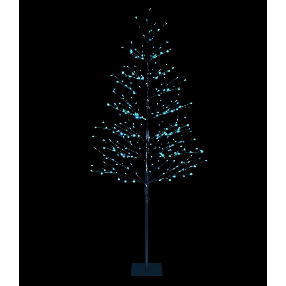 Lightshare 7 Ft Pre Lit Led Northern Lights Starlit Tree With Silver Finish And 306 Led Lights Btsgz7ft Rgb The Home Depot