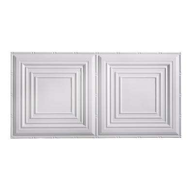 Traditional Style #3 2 ft. x 4 ft. Glue-Up PVC Ceiling Tile in Matte White