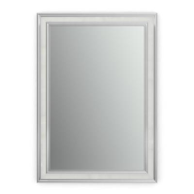 29 in. W x 41 in. H (M3) Framed Rectangular Standard Glass Bathroom Vanity Mirror in Chrome and Linen