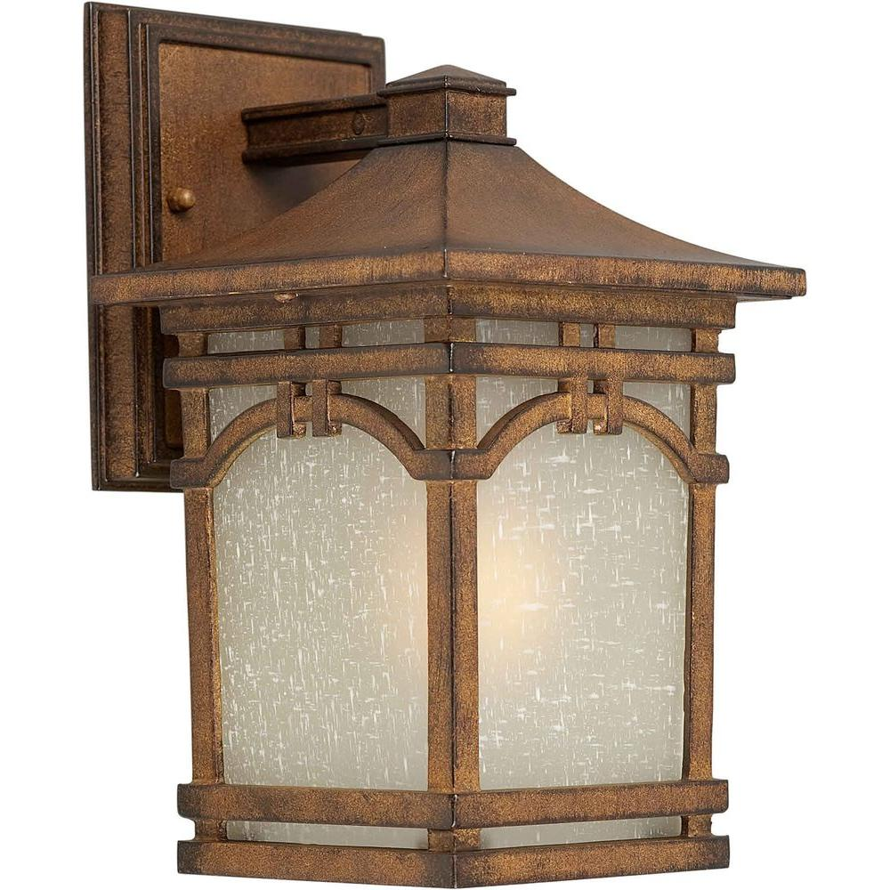 Talista 1-Light Outdoor Rustic Sienna Wall Lantern with Umber Linen Glass