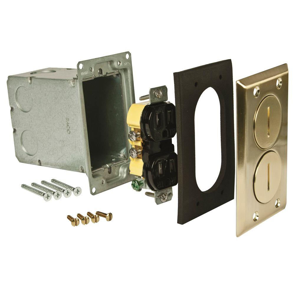 RACO Single-Gang Floor Box Kit, Brass Finish with Two Threaded Plugs, Steel Box and 15A TR Duplex Device