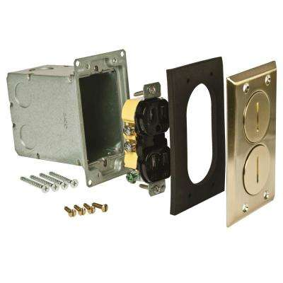 Single-Gang Floor Box Kit, Brass Finish with Two Threaded Plugs, Steel Box and 15A TR Duplex Device
