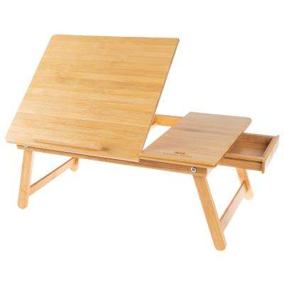 Bamboo Lap Desk Travel Tray with Adjustable Top and Storage Drawer