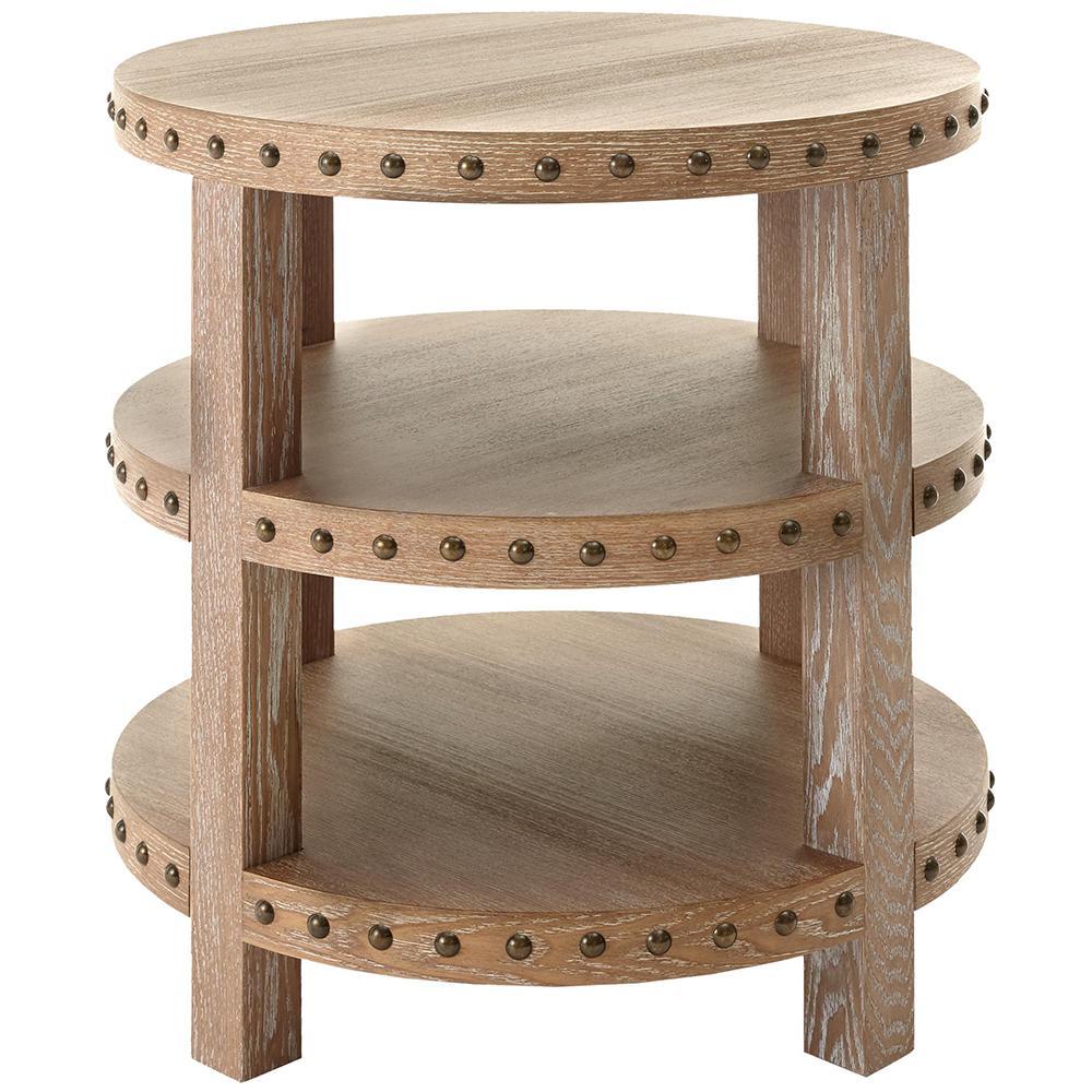 Nailhead Light Washed Oak End Table