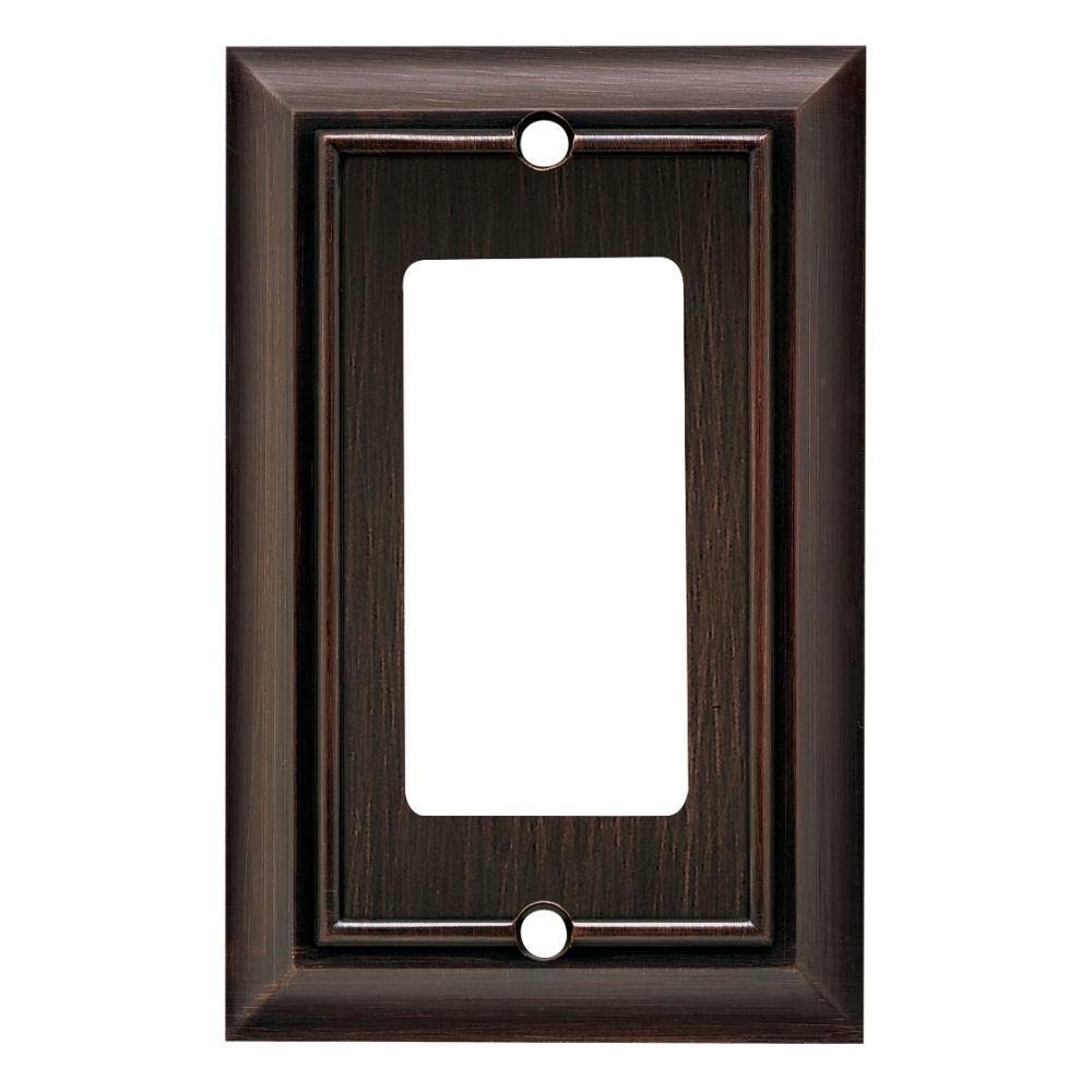 Architectural Decorative Single Rocker Switch Plate Venetian Bronze  sc 1 st  Home Depot & Bronze - Switch Plates - Wall Plates - The Home Depot