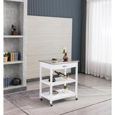 Holland White Kitchen Cart with Stainless Steel Top