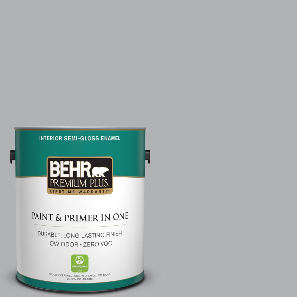 1 gal. #PPU26-08 Silverstone Zero VOC Semi-Gloss Enamel Interior Paint